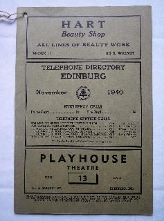 1940 Edinburgh Phone Book
