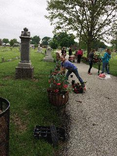 Cemetery Flower Baskets - Girl Scouts